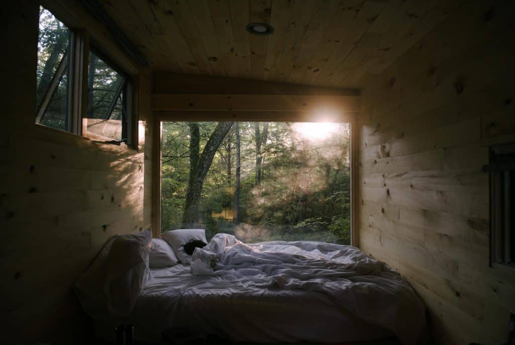 Person illuminated by morning sun in wooden cabin