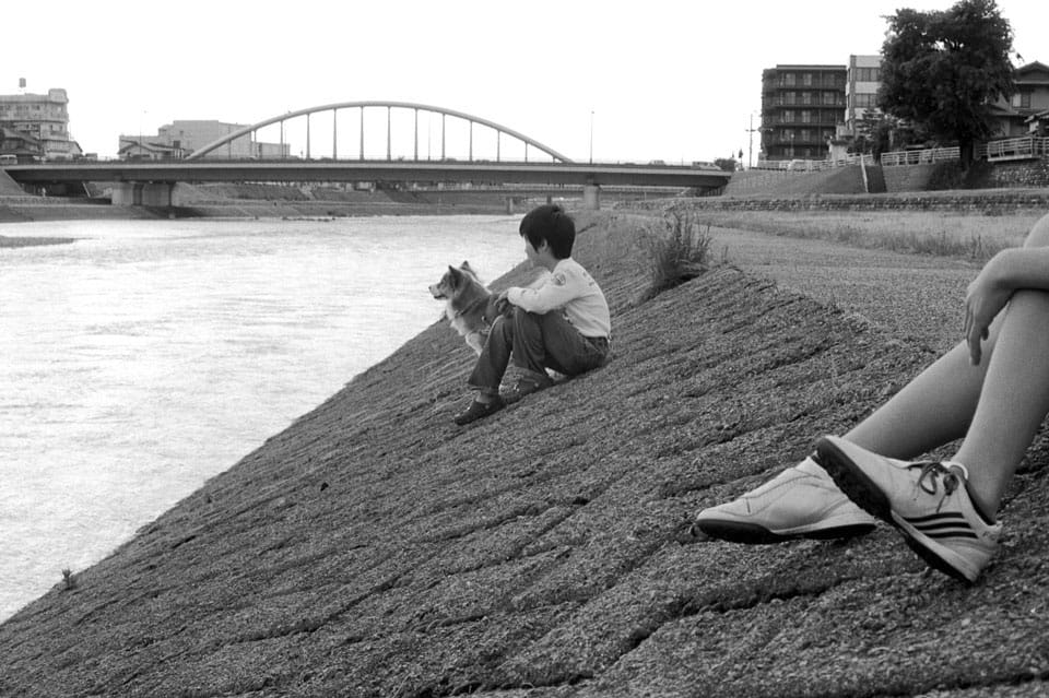 2 children sit at the edge of a riverbank with their dog