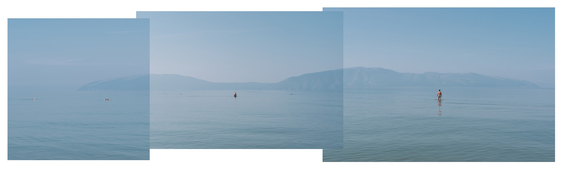 A triptych of three people swimming in the vast ocean in Albania
